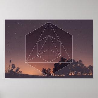 神聖な幾何学対。 夜空 ポスター