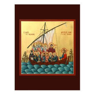 神聖な教会祈りの言葉カードの神秘的なアイコン ポストカード