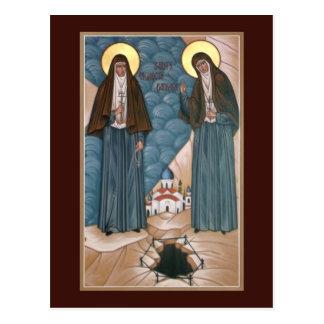 神聖な殉教者エリザベスおよびバーバラの祈りの言葉カード ポストカード