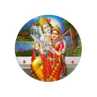 神聖なRADHA Krishnaのフルートの楽器の神 ラウンド壁時計