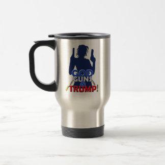 神銃および切札の赤白青の腕のコーヒーカップ トラベルマグ