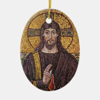 神霊の炎のモザイクを持つイエス・キリスト セラミックオーナメント