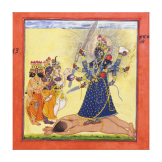 神1675年によって崇拝される女神Bhadrakali キャンバスプリント