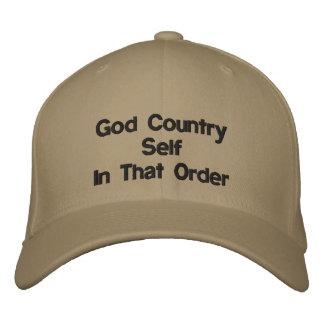 神、国、自己の野球帽 刺繍入りキャップ