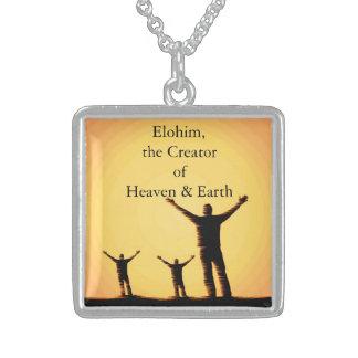 神- Elohimの銀によってめっきされるネックレスの名前 スターリングシルバーネックレス
