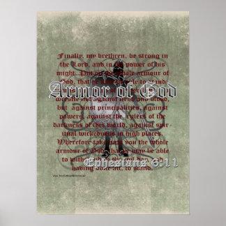 神、Ephesiansの6:10 - 18のキリスト教の兵士の装甲 ポスター