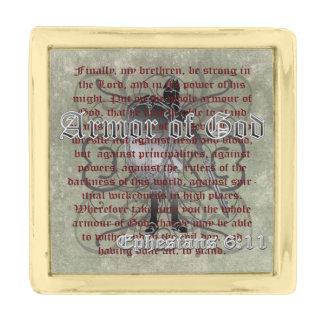 神、Ephesiansの6:10 - 18のキリスト教の兵士の装甲 金色 ラペルピン