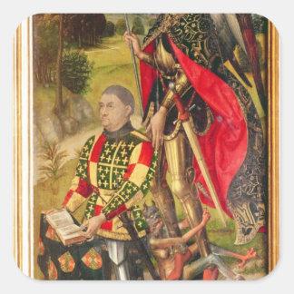 祭壇の背後の飾りの提供者の描写、マイケルde スクエアシール