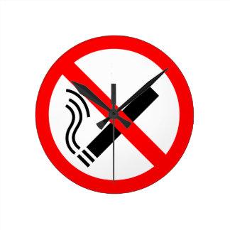 禁煙の印-イギリスの表記 ラウンド壁時計