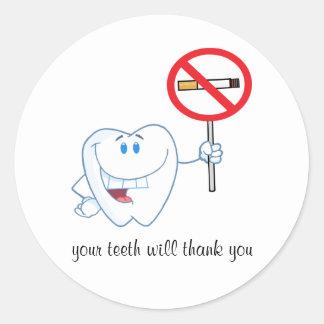 禁煙-あなたの歯はステッカー感謝していしています ラウンドシール
