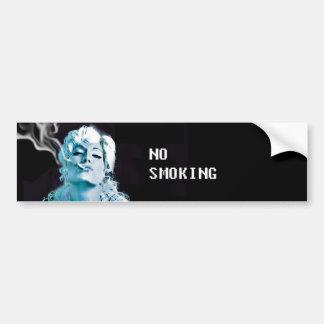 、禁煙、青い煙、美しい女の子煙ります バンパーステッカー