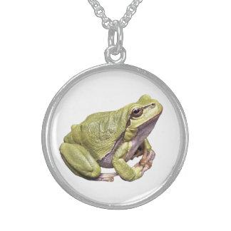 禅のカエルの純銀製の円形のネックレスの白 スターリングシルバーネックレス