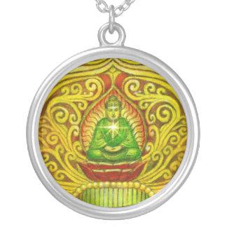 禅の仏の黙想の芸術の円形のネックレス シルバープレートネックレス