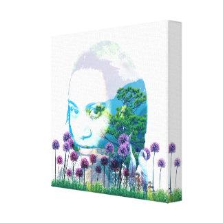 禅の庭の女性のアジア人の盆栽 + 紫色の葱類 キャンバスプリント