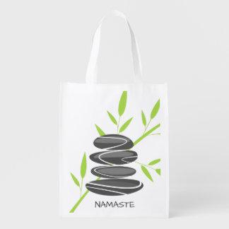 禅の庭の小石の再使用可能な食料雑貨の買い物袋 エコバッグ