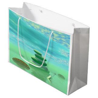 禅の景色の蝶飛行中に ラージペーパーバッグ