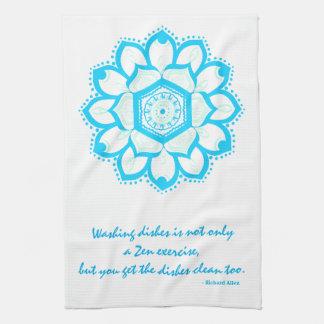 禅の皿の引用文および青い曼荼羅 キッチンタオル