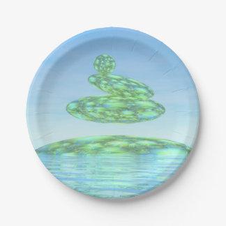 禅の石- 3Dは描写します ペーパープレート