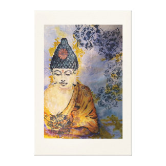 禅は仏の水彩画のプリントのキャンバス36x24をめい想します キャンバスプリント