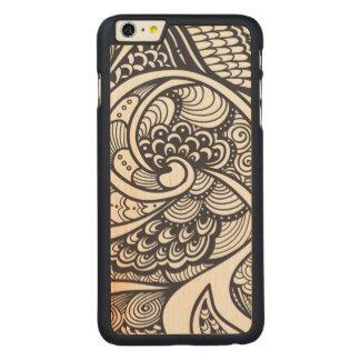 禅落書きのスタイルの抽象的なパターン CarvedメープルiPhone 6 PLUS スリムケース