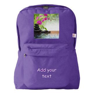 禅、平和、ヨガ直る、スパ美しいピンクの蘭c american apparel™バックパック