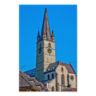 福音の教会の塔、シビウ フォトプリント