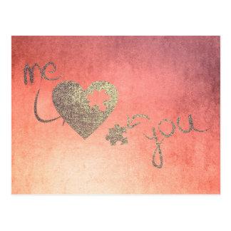 私およびあなたハートのパズル愛バレンタインのばら色の金ゴールド ポストカード