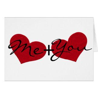 私およびあなたバレンタインデーのハートの挨拶状 カード