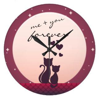 私および永久に愛時計のロマンチックな猫 ラージ壁時計
