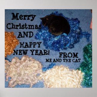 私およびCATポスターからの休日の挨拶、 ポスター