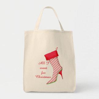 私がクリスマスのペパーミントのブーツのストッキングのためにほしいすべて トートバッグ