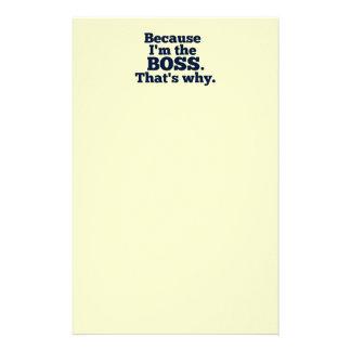 私がボスであるので、そういうわけで。 便箋