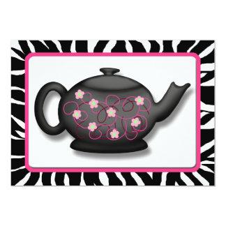 私が付いている茶を~のシックなシマウマのプリントの招待状食べて下さい 12.7 X 17.8 インビテーションカード