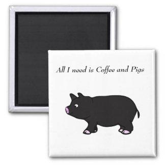 私が必要とするすべてはコーヒーおよびブタの黒いブタの磁石です マグネット