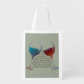 私が恋しく思うことを行けばエコバッグを言うおもしろいのワイン エコバッグ