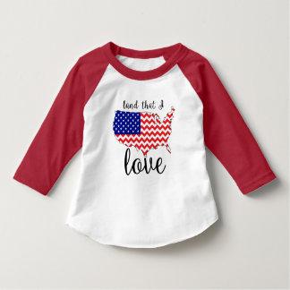 私が愛国心が強い袖のTシャツ3/4枚愛すること上陸させて下さい Tシャツ