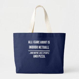 私が気にするすべては約屋内ネットボールのスポーツです ラージトートバッグ