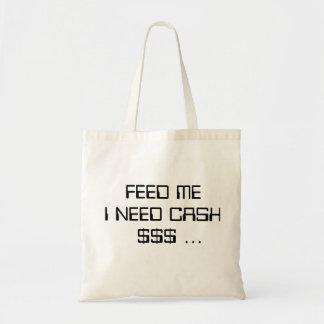 私が現金…トートバックを必要とする私を食べ物を与えて下さい トートバッグ