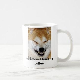私が私のコーヒーを食べる前に柴犬犬の顔、私 コーヒーマグカップ