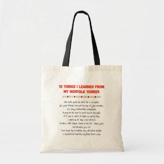 私が私のノーフォークテリアから学んだおもしろいな事 トートバッグ