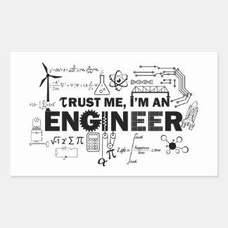 私が私エンジニアのステッカーであることを信頼して下さい 長方形シール