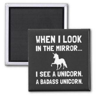 私が鏡を私を見るときユニコーンを見て下さい 冷蔵庫用マグネット