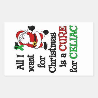 私がCeliacクリスマスのために…ほしいすべて 長方形シール