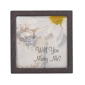 私とデイジーの婚約指輪箱結婚します ギフトボックス