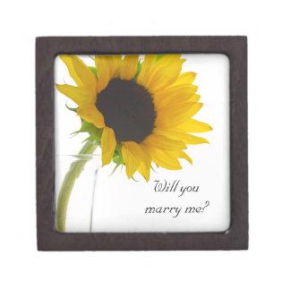 私とヒマワリの婚約指輪箱結婚します ギフトボックス