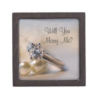 私と真珠および婚約指輪箱結婚します ギフトボックス