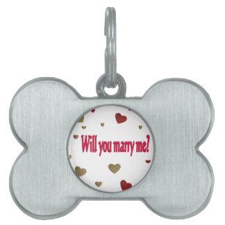 私と結婚しますか。 ペットネームタグ