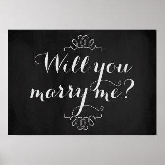 私と結婚しますか。 婚約の黒板ポスター ポスター