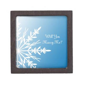 私と青い雪片のリング箱結婚します ギフトボックス