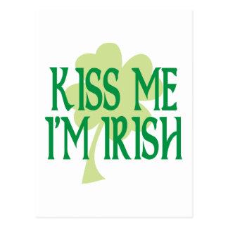 私によってがアイルランドの緑のシャムロックである私に接吻して下さい ポストカード